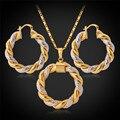 U7 boda nupcial conjuntos de joyas para las mujeres party oro amarillo plateado de moda de nueva ronda collar pendientes conjuntos s129