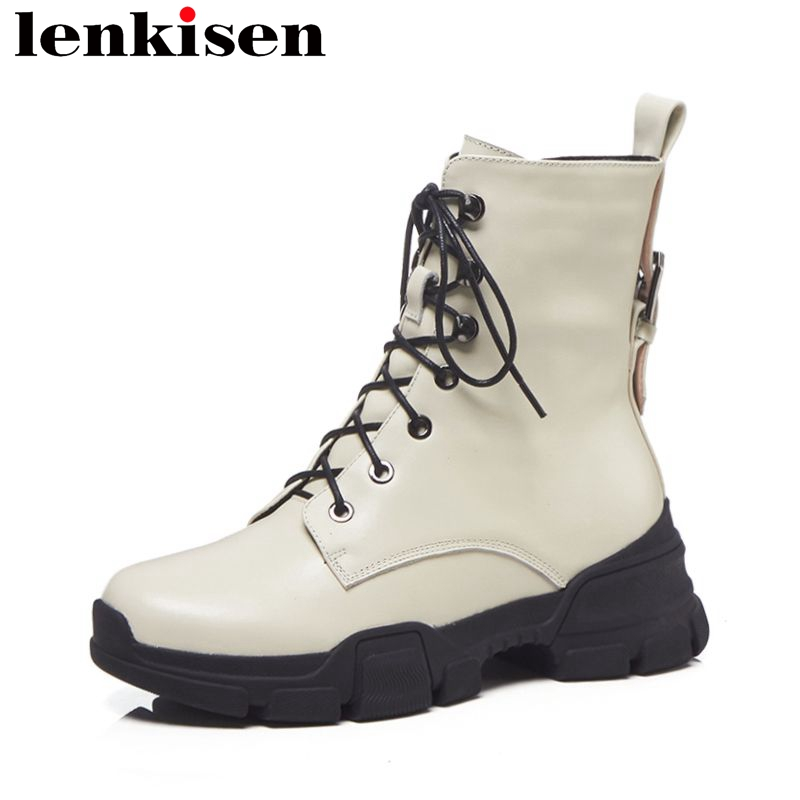 Lenkisen rome solid natural leather motorcycle round toe thick med bottom concise style classic luxury women ankle boots L82Lenkisen rome solid natural leather motorcycle round toe thick med bottom concise style classic luxury women ankle boots L82