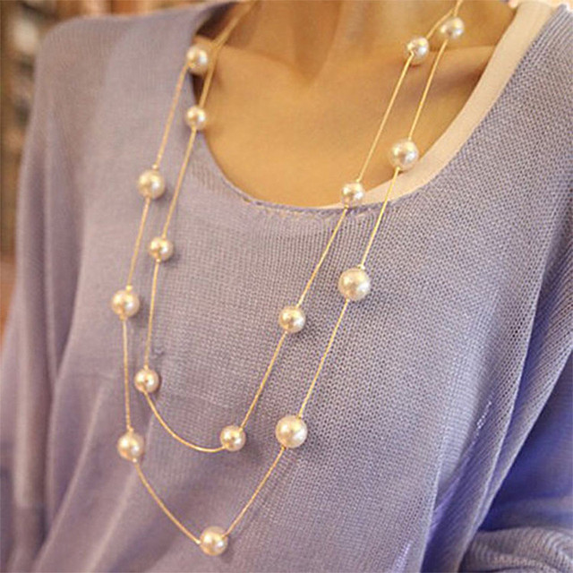N826 Double Layer Simulated Pearls Necklaces Fashion Jewelry Long Chain Charm Necklace For Women HOT Selling