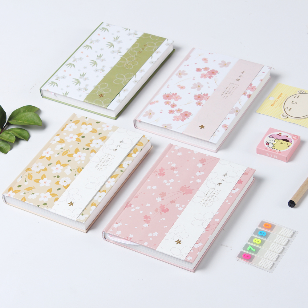 New cute cartoon Cherry blossoms series school student diary notebook stationery,candy hardcover person agenda planner organizer cute cat hardcover notebook school student daily diary multi functional line inner pages planner faux leather scheduling agenda