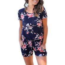 Free Ostrich 2018 Women Floral Print Short Sleeve Jumpsuit Summer Playsuit Beach Rompers rompers womens overalls for women E0243