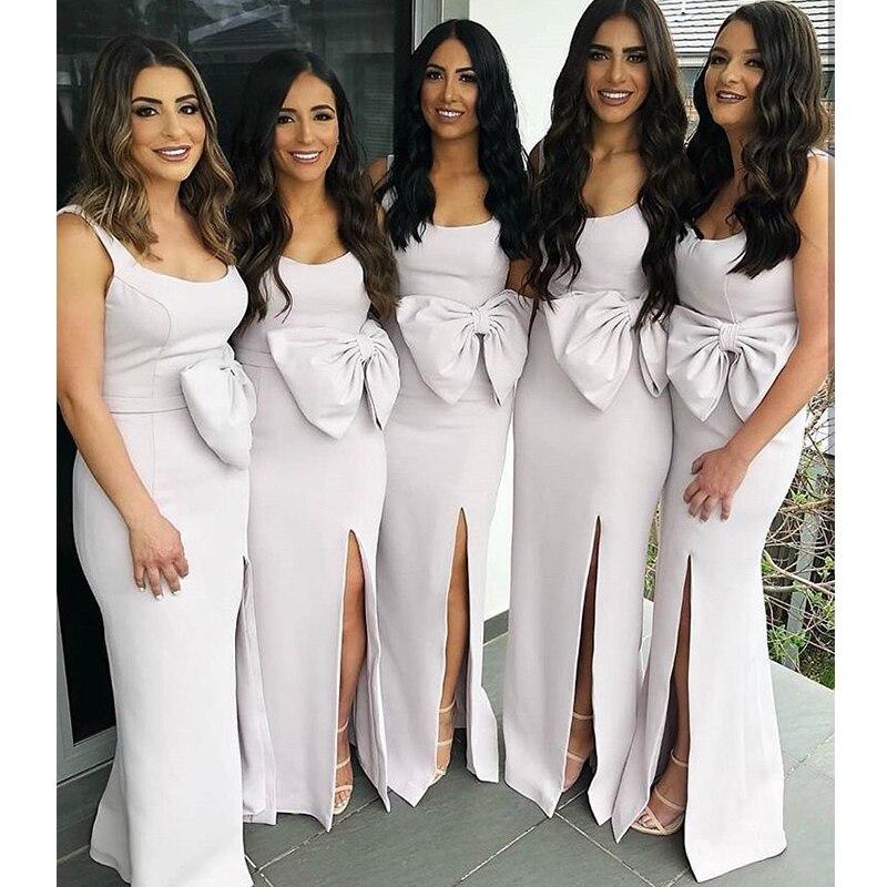Sexy sirène robes de demoiselle d'honneur encolure dégagée Satin robes de fête de mariage noeud papillon ceinture avant Split robes de demoiselle d'honneur