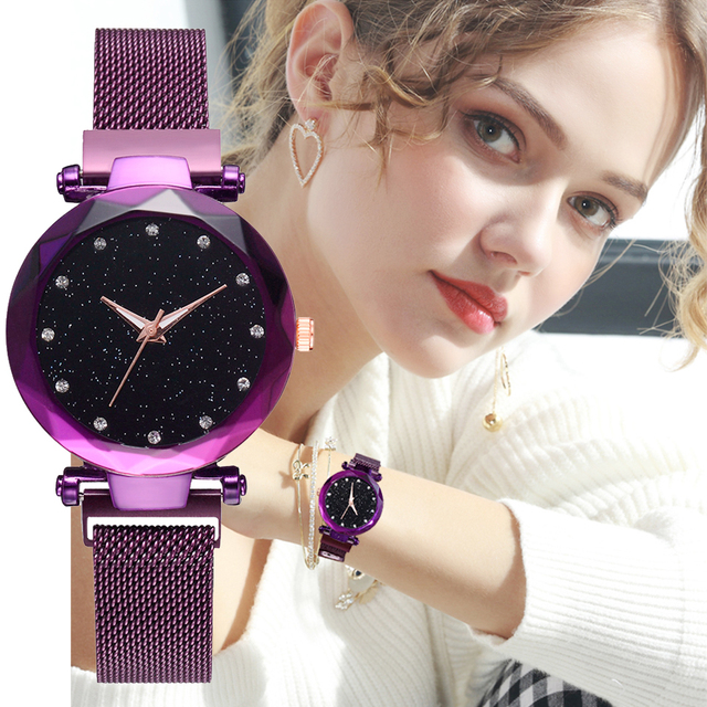 2018 Luxury Women Watches Rose Gold Ladies Clock Magnetic Starry Sky Diamond Dre