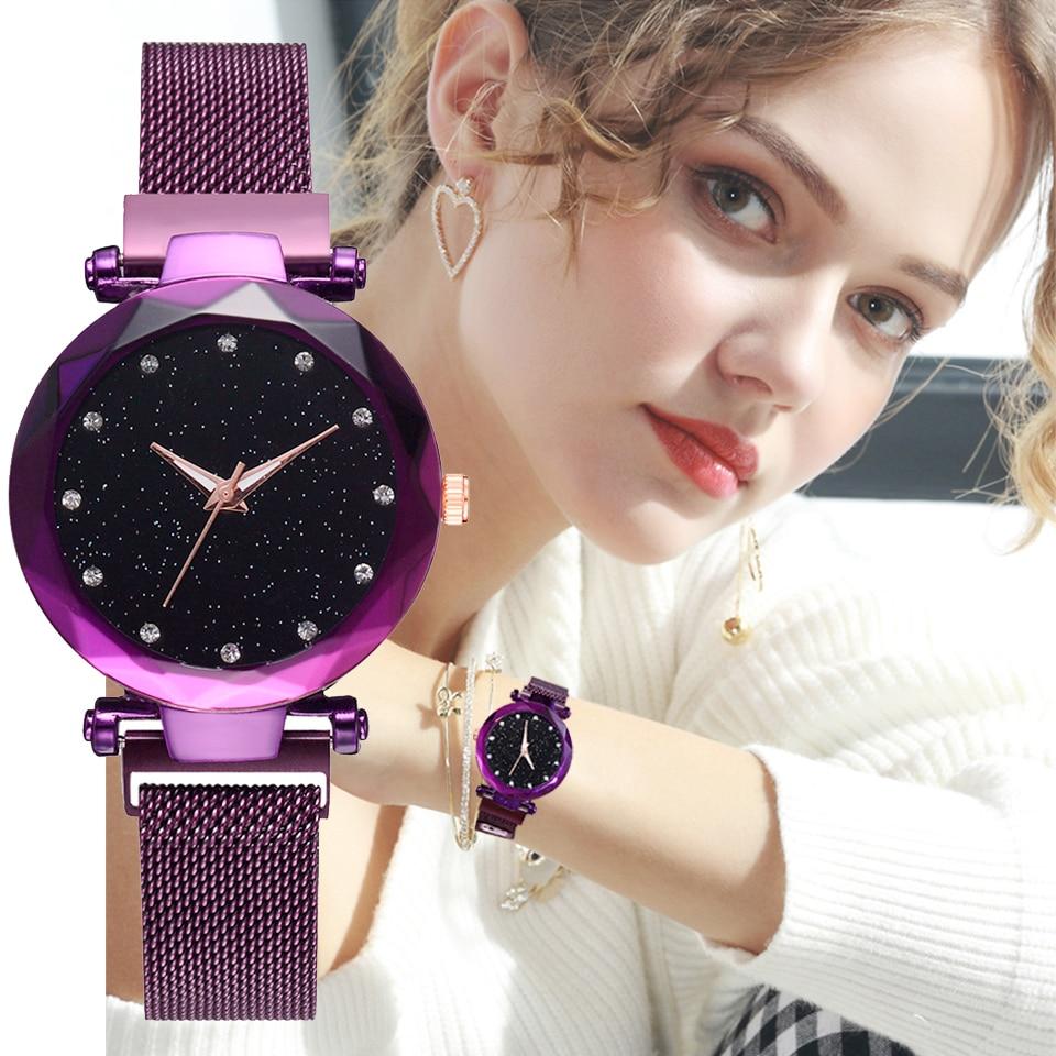2018 luxus Frauen Uhren Rose Gold Damen Uhr Magnetische Starry Sky Diamant Kleid Weibliche Quarz Armbanduhren relogio feminino