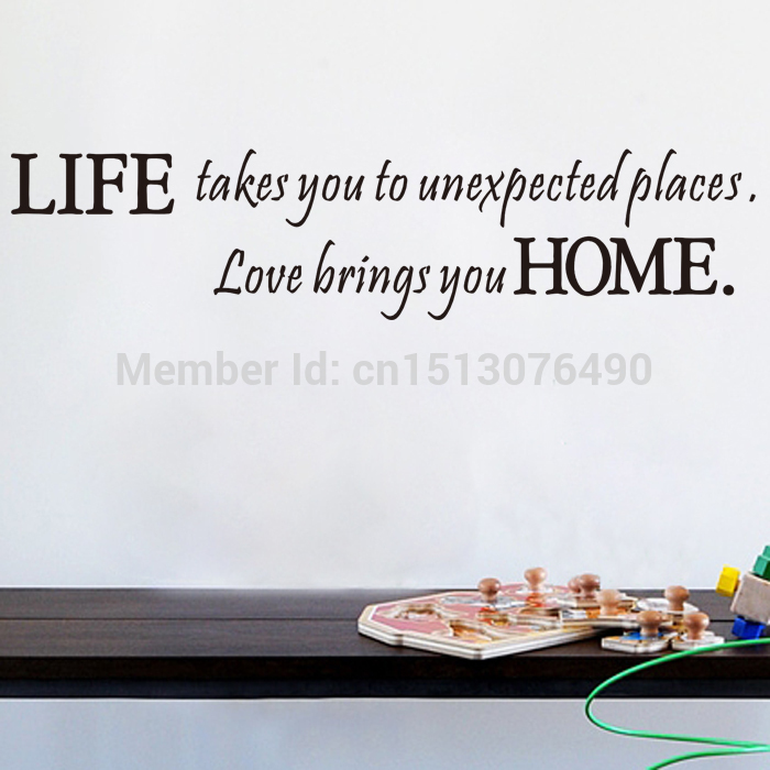 Life Takes You Unexpected Places Love Brings You HOME Saying Quote Home Decor 8081 Art Vinyl Wall Sticker Decals