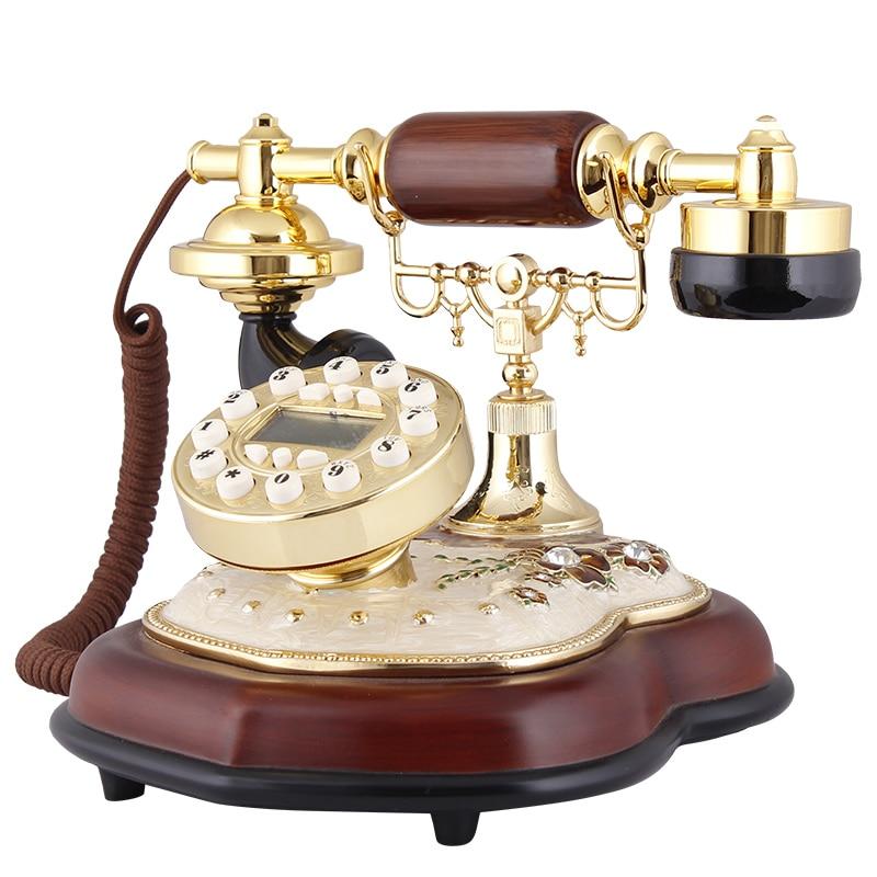 A square office telephone landlines retro European household antique phone fashion Decoration home art phone Caller ID backlit
