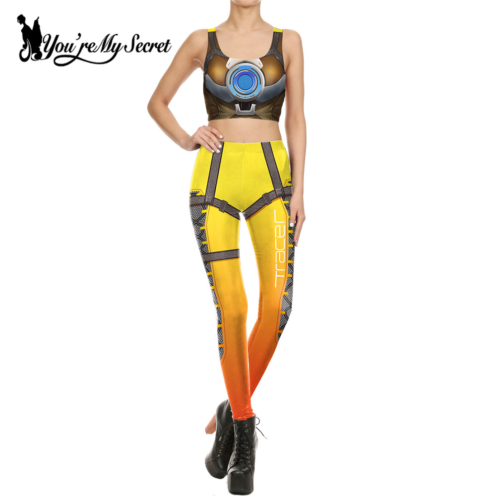 [You're My Secret] Mode Amerika Deadpool Leggins Wanita Film Cosplay Slim Star Wars 2 piece wanita Crop Top dan Legging Set