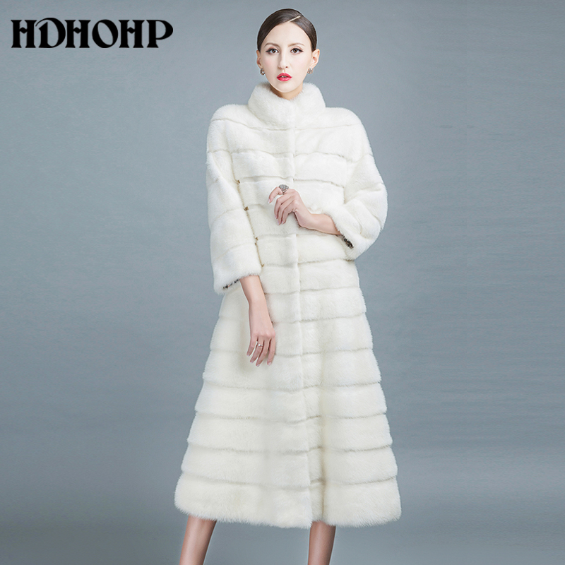 HDHOHP 2017 New Winter Natural Min Fur Coats Long With Skirt Women Real White Mink Coats Fashion Slim Warm Fur Jackets Feamle