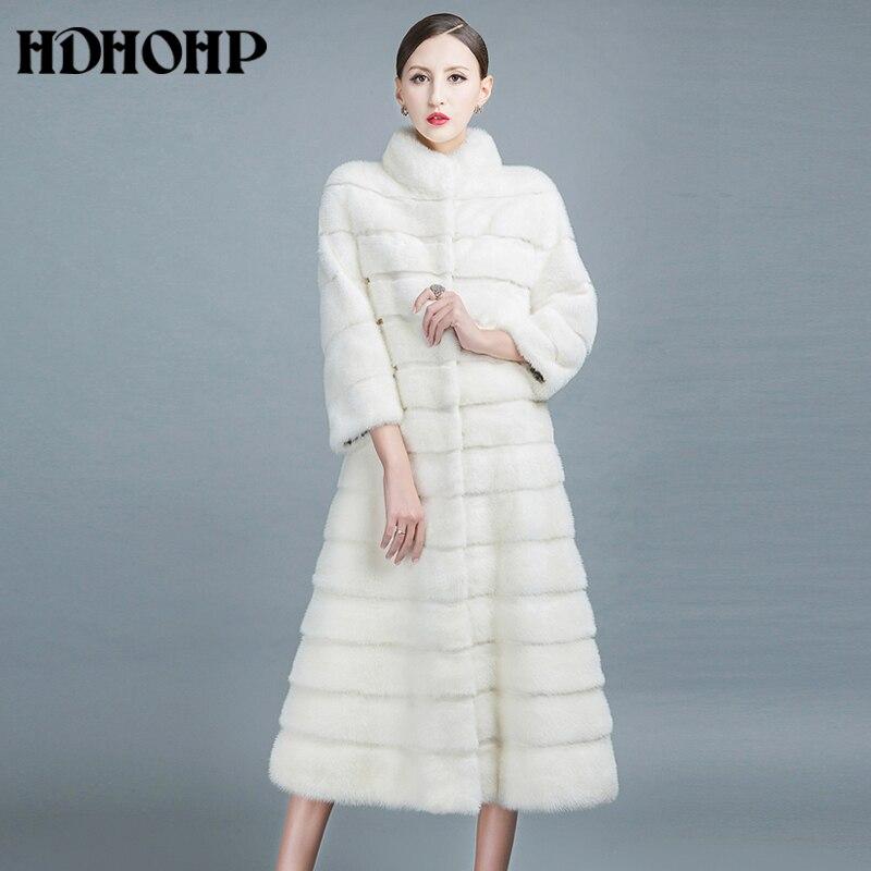 HDHOHP 2017 Nouveau Hiver Naturel Min De Fourrure Manteaux Long Avec Jupe femmes Réel Blanc Vison Manteaux De Mode Mince Chaud De Fourrure Vestes Feamle