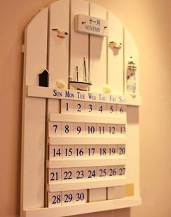 Hot sell New Home Decor accessories classic Mediterranean Style calendar crafts Wood Embellishment 44*30CM