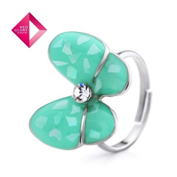 Neoglory Jewelry Fashion 14k Gold Plated Rhinestone Rings Jewellery Adjustable Female Finger Rings (Min Order $10)