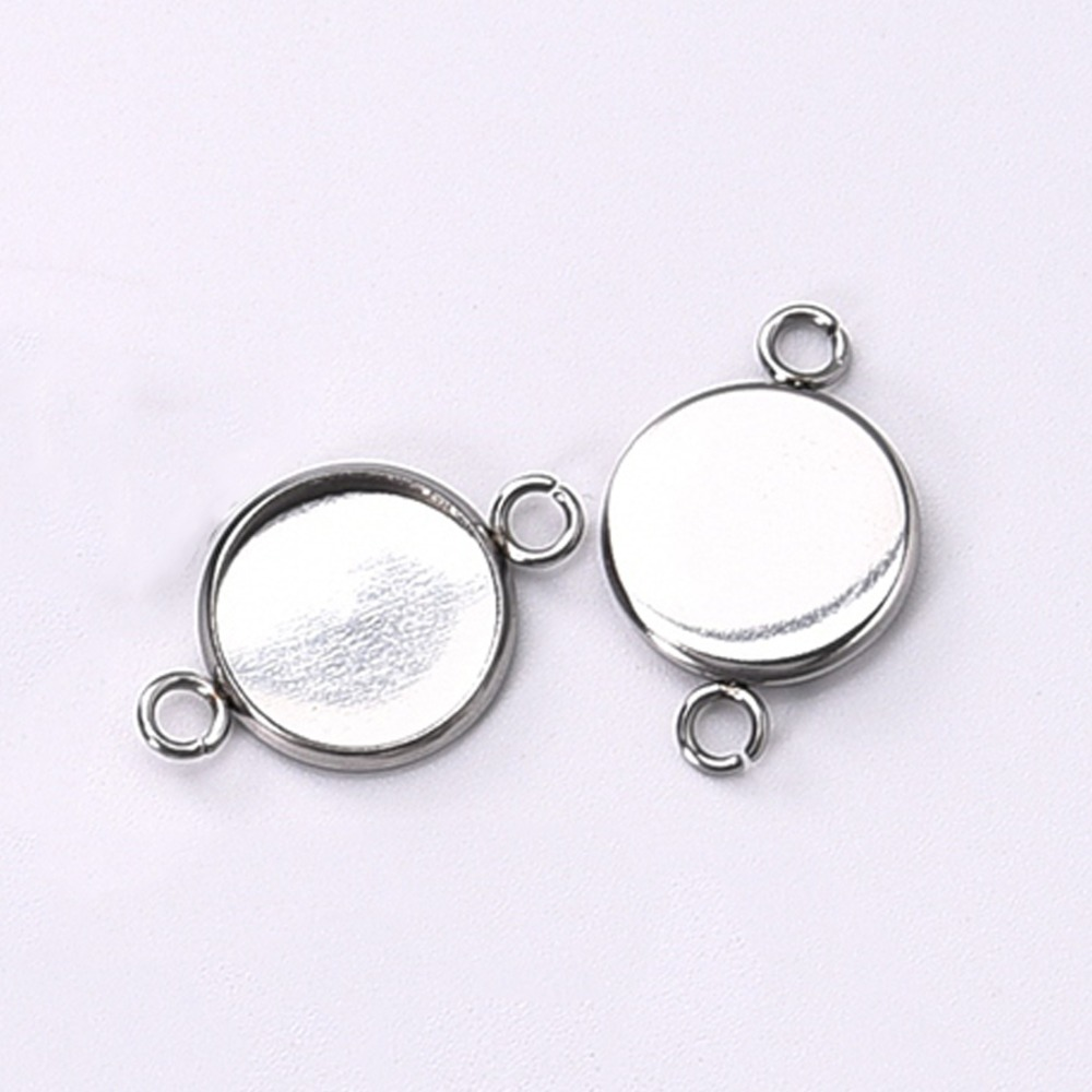 50Pcs/lot 12mm Stainless Steel Connector Setting Cabochon Base Cameo Bezel 1/1 Loop Round DIY Pendant Jewelry Making Components