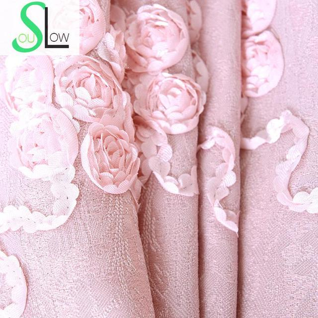 Slow Soul Pale Pink Roses Curtains Embroidered Jacquard Curtain ...