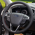 Hand-stitched Black Leather Car Steering Wheel Cover for Ford Fusion Mondeo 2013-2014