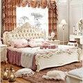 Современная Европейская твердой древесины кровать моды Резные 1,8 м кровать французский мебель для спальни 6589