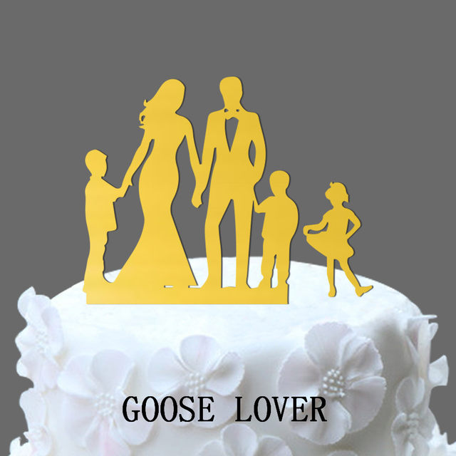 Online Shop Family Wedding Cake Topper With 2 Boy And 1 Girl, Bride ...