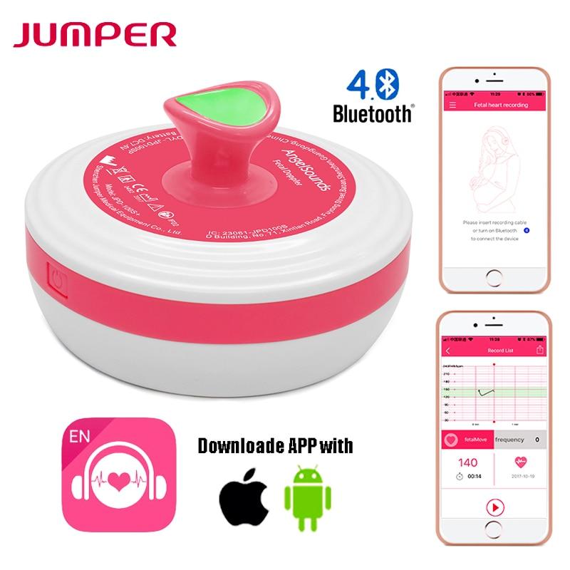 Détecteur de battement de coeur foetal de Doppler de bluetooth d'utilisation à domicile de soins de bébé ange sonne le moniteur rose de dopplers d'ultrason 2.0 MHZ avec la musique