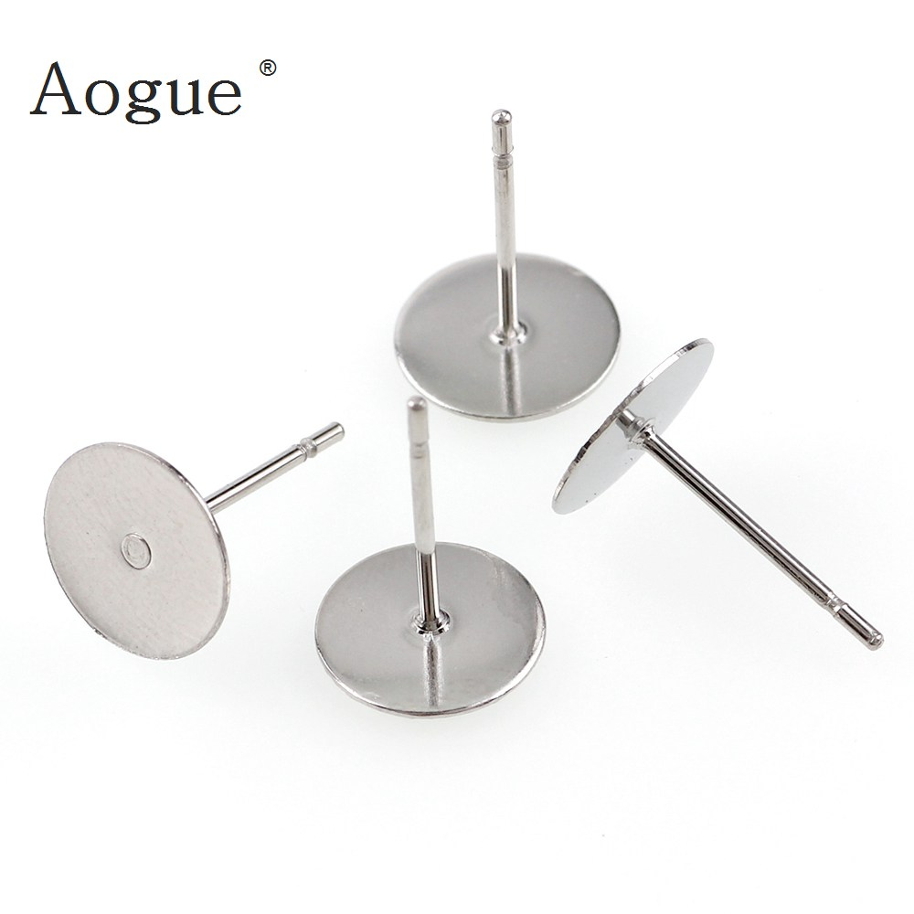 48-120 Pieces Stainless Steel Blank Post Earring Studs Pins Steel Color Flat Round Tray Base For Earring Jewelry Findings
