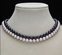 free shipping 2 rows 9-10MM NATURAL SOUTH SEA GENUINE BLACK + PURPLE PEARL NECKLACE 14 Gol a(5.18)