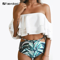Faerdasi New Bikini Doubledeck Flouncing Swimsuit Plus Size XXL Bathing Suit Women High Waist Swiming Suit