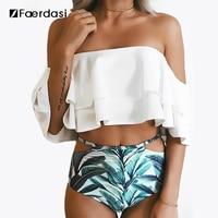 Faerdasi New Bikini Doubledeck Flouncing Swimsuit Plus Size XXL Bathing Suit Women High Waist Swiming Suit