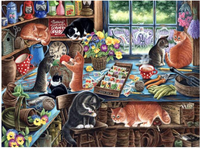 The Cat in the Kitchen Animal Embroidery Needlework Crafts 14CT Unprinted DMC DIY Quality Cross Stitch
