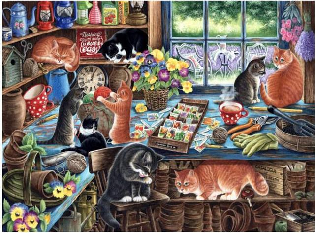 Cats In The Kitchen Large Island With Seating Cat Animal Embroidery Needlework Crafts 14ct Unprinted Dmc Diy Quality Cross Stitch