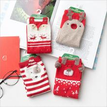 Lovely Christmas Cartoon Women Socks Beautiful Red Happy Socks for Female 4pairs/lot Wholesale Free Shipping Animal Cotton Socks