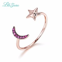 I Zuan 14K Gold Natural 0 033ct Stone Star Moon Prong Setting Trendy Simple Ring Jewelry