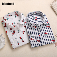 Dioufond New Floral Long Sleeve Vintage Blouse Cherry Turn Down Collar Shirt Blusas Feminino Ladies Blouses Womens  Tops Fashion