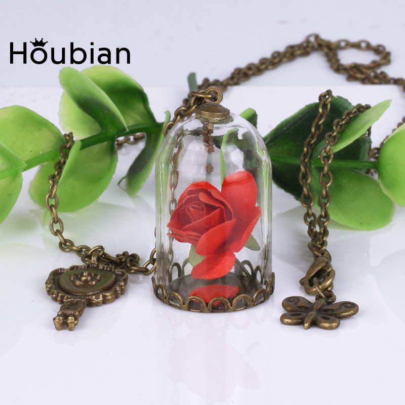 Houbian Retro Crystal Necklace Rose Glass Bottle Necklace Beauty And The Beast Dry Flower Jewelry Necklace for Gift Women