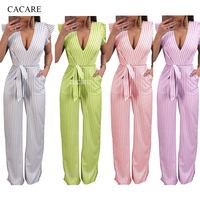 2018 Jumpsuits for Women Elegant Ladies Rompers Playsuit CHEAPEST Summer Overalls F2967 Striped Jumpsuit Waist Belt Backless