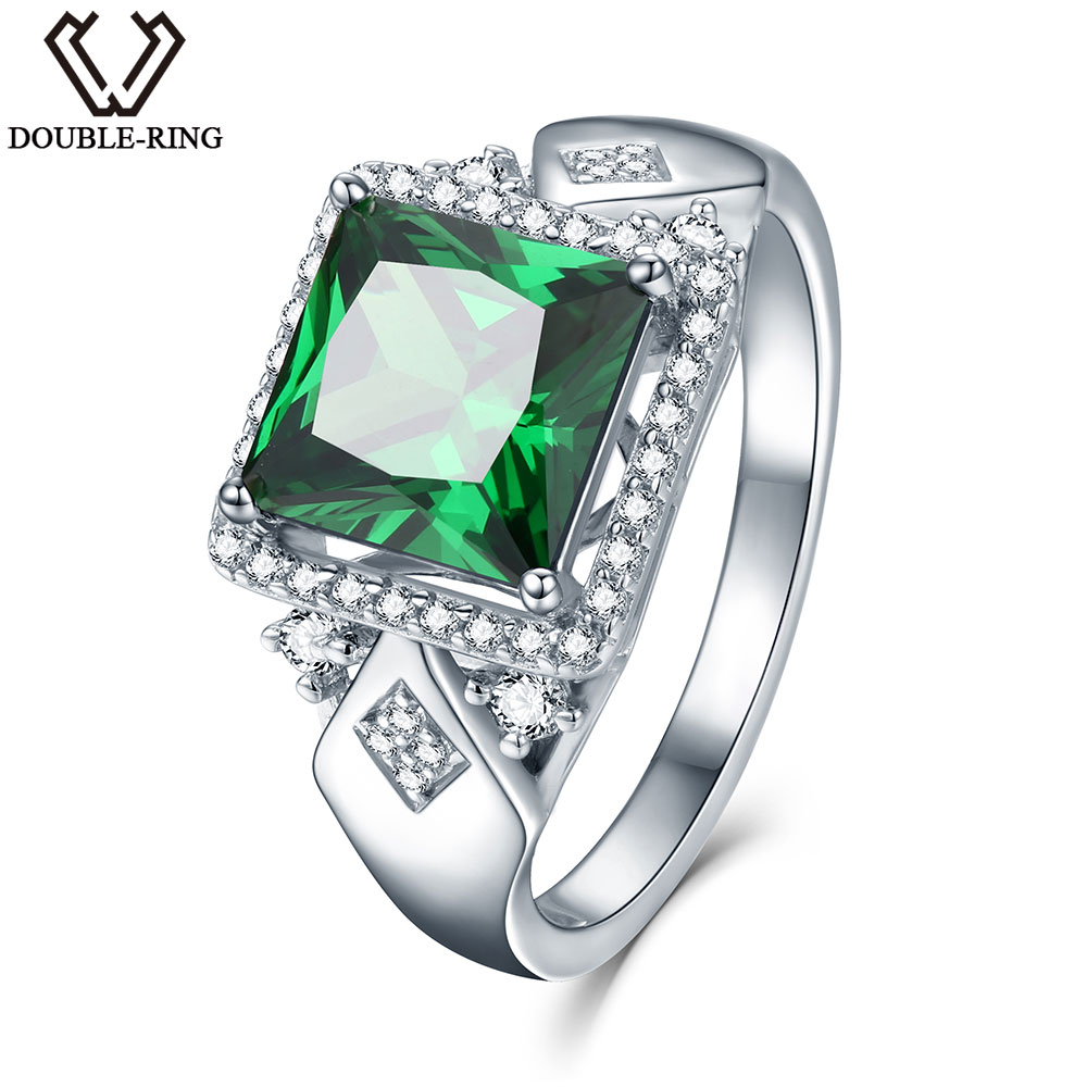 3 72ct Square Created Green Emerald 925 Sterling Silver Rings for Women Engagement Wedding Anniversary