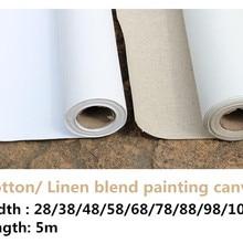 5 м длинные художника грунтованная смесь льна/ хлопок пустой грунтованная живопись пустой холст рулон для художника