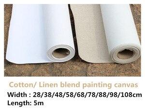 Image 1 - 5m uzun sanatçı astarlı keten karışımı/% 100% pamuk boş astarlı boyama boş tuval rulo sanatçı için