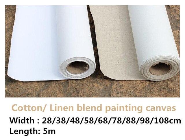 5m uzun sanatçı astarlı keten karışımı/% 100% pamuk boş astarlı boyama boş tuval rulo sanatçı için