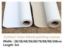 Rolo de lona artística para pintura, 5m de comprimento, artístico, mistura de linho/100% algodão, pintura em branco primado, para artista
