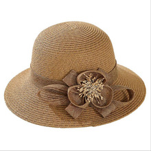 Women Summer Hats Flower Floppy Wide Brim Beach Ladies Solid Panama Bucket Hat Korea Style Female Sun for