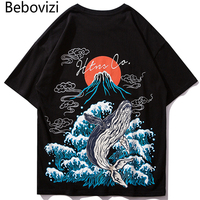 Bebovizi 2019 Men Hip Hop Streetwear T Shirt Japanese Mount Fuji Printed Harajuku T Shirts Summer Tshirt Cotton Casual Tops Tee