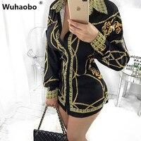 Wuhaobo خمر الأسود طباعة قميص اللباس النساء الخريف عارضة طويلة الأكمام رفض طوق سليم البسيطة فساتين vestidos 2 ستايل