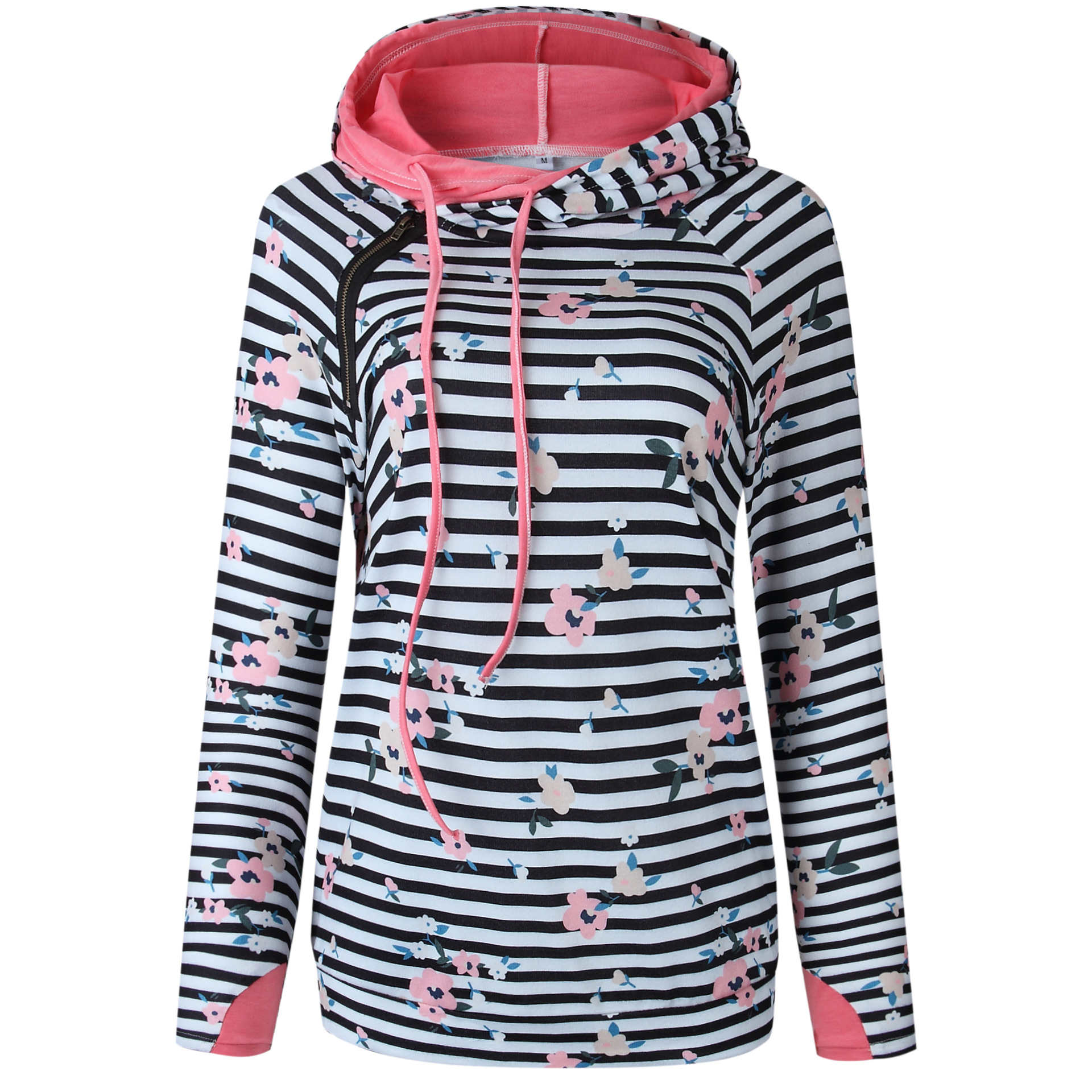 women sweatshirts striped hooded floral print top 2019 winter fashion pullover casual tops women sweatshirt pink hoodies gothic in Hoodies amp Sweatshirts from Women 39 s Clothing