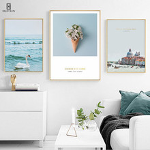 Nordic Fresh Style Home Decor Wall Canvas Paintings Of A White Swan Swimming On The Lake A Bunch Of Beautiful Colorful Flowers