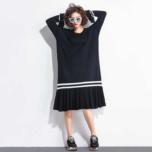 Johnature Fashion Simple New Solid Color Full Sleeve Ruffles Loose Sweater Dress 2018 Autumn Large Size O-Neck Women Dresses