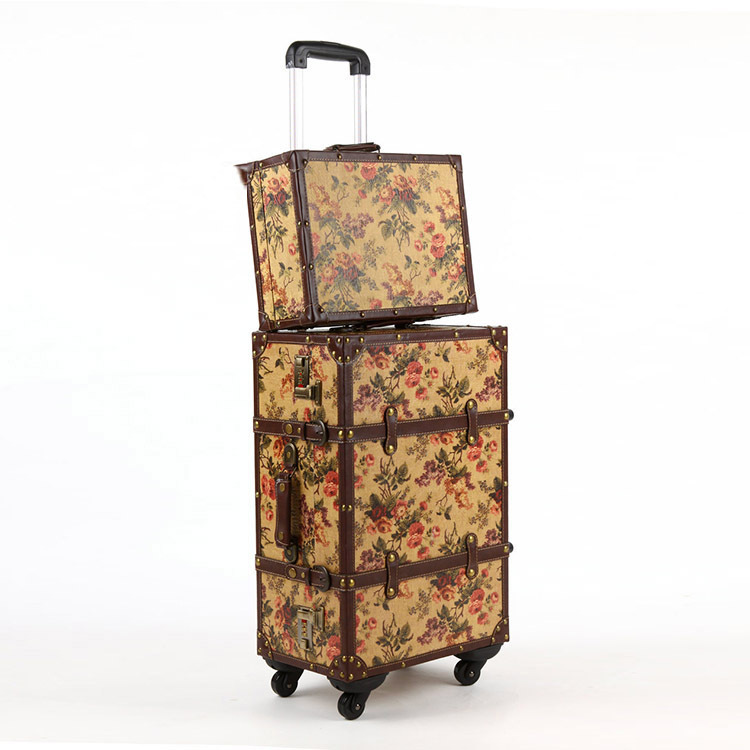 Spinner Wheels Retro  Pu+wood Leather Embossed Suitcase Women Trunk Vintage Luggages Rolling Luggage for ladySpinner Wheels Retro  Pu+wood Leather Embossed Suitcase Women Trunk Vintage Luggages Rolling Luggage for lady