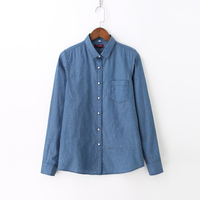Dioufond Women Jeans Shirt Denim Long Sleeve Cotton Top Female Paisley Floral Blouse Turn Down Collar
