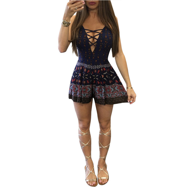 62995b32a1d9 Bohemian Style Floral Romper Women Sexy Hollow Out Deep V Neck Spaghetti  Strap Lace Up Boho Jumpsuit Summer Beach Overalls