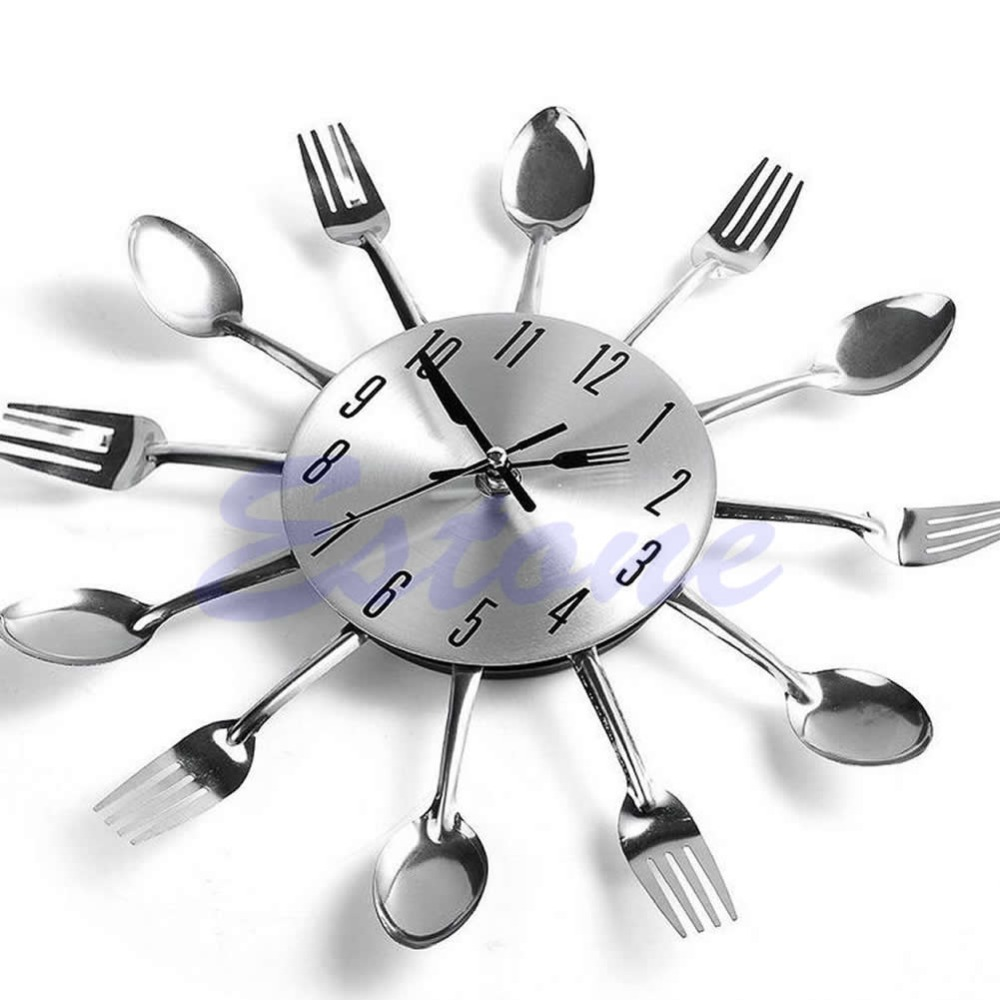 Creative Modern Design Sliver Cutlery Kitchen Utensil Wall Clock Spoon Fork  Clock Home Decor In Wall Clocks From Home U0026 Garden On Aliexpress.com |  Alibaba ...