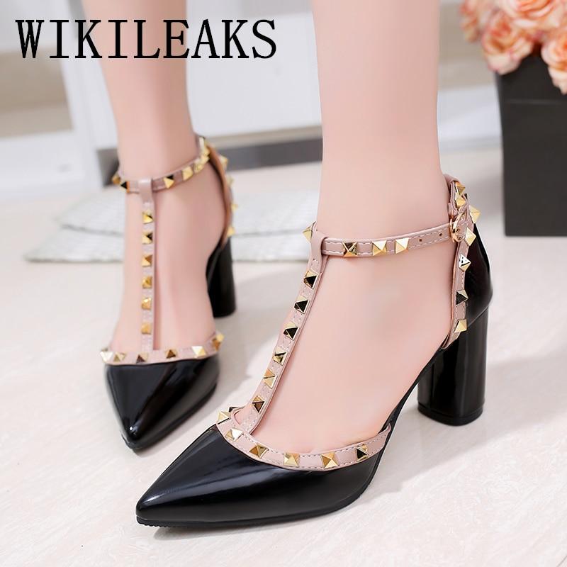 Buy pumps fetish high heels designer shoes women 2019 high heel bridal shoes escarpin Square heel mary jane shoes sandalia feminina