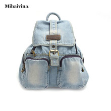 Hot Sale Women s Backpack Denim Backpack Teenage Girls Vintage Travel Bag Shoulder Bag School Rucksack