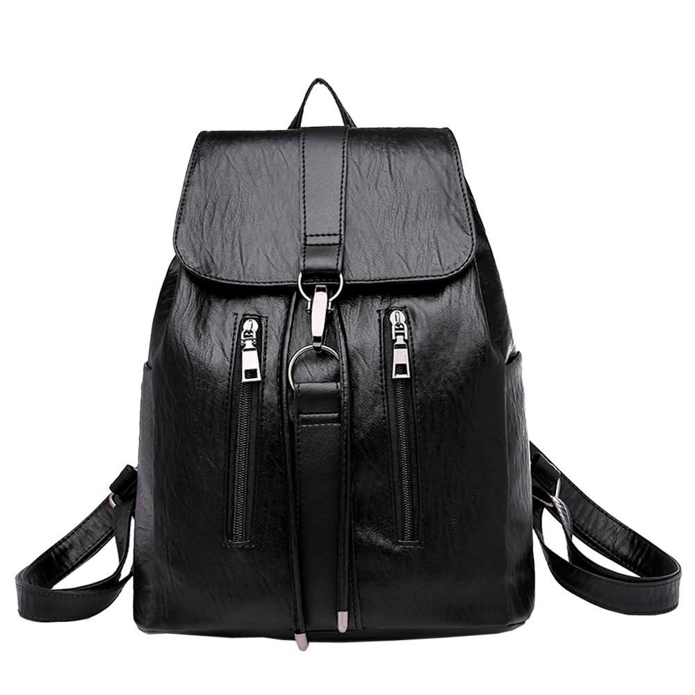 High Quality Backpack female backpacks women Vintage Girl Leather School Bag Backpack Satchel Women Travel Shoulder Bag недорго, оригинальная цена